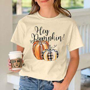 Hey Pumpkin Cream White Graphic T-Shirt
